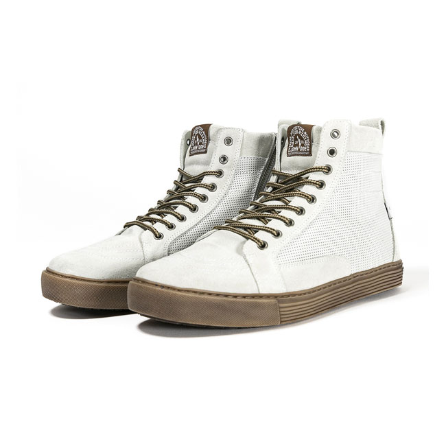 John Doe motorcycle sneakers Neo white/ brown CE appr.,bkr.mcsh.582953