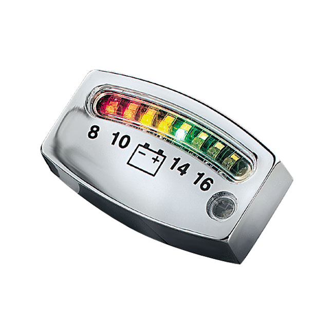 KURYAKYN LED BATTERY GAUGE CHROME,bkr.mcsh.544227