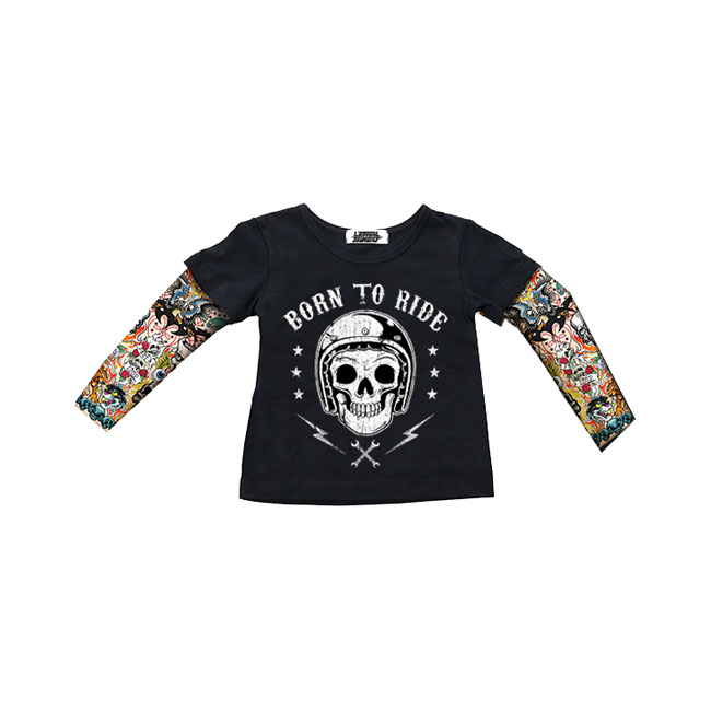 LT, KIDS TATTOO SLEEVE SHIRT BORN TO RIDE,bkr.mcsh.563995