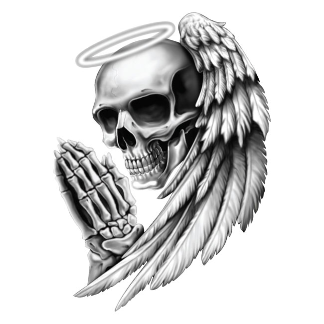 LT MINI DECAL ANGEL SKULL,bkr.mcsh.595100