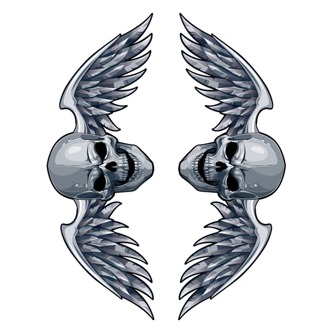 LT MINI DECAL WINGED SKULL,bkr.mcsh.595059
