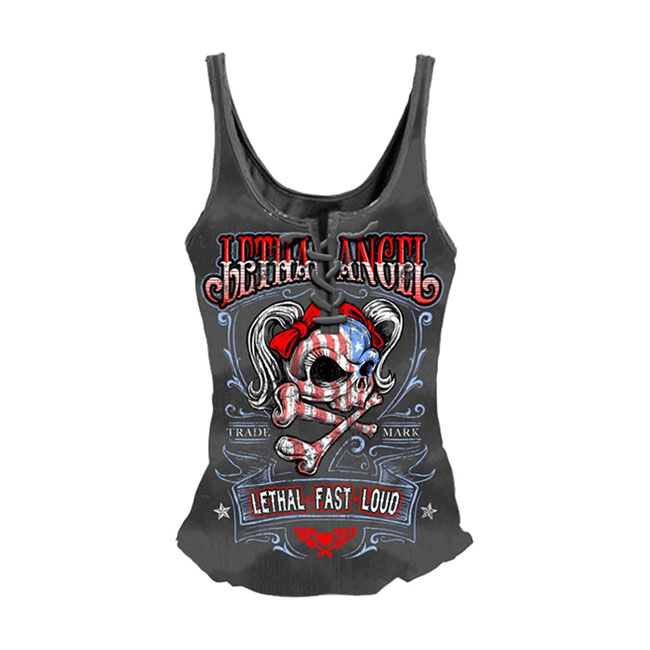 Lethal Threat USA Girl Skull Lace Up Tank Top,bkr.mcsh.561905