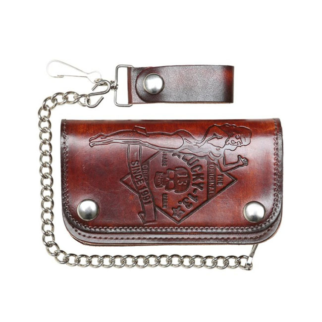 Lucky 13 No Rider leather embossed chain wallet brown,bkr.mcsh.588468
