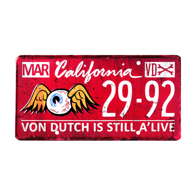 VON DUTCH METAL LICENSE PLATE RED,bkr.mcsh.527343